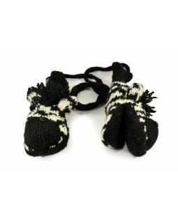 Rukavice, dětské, zebra, černo-bílé