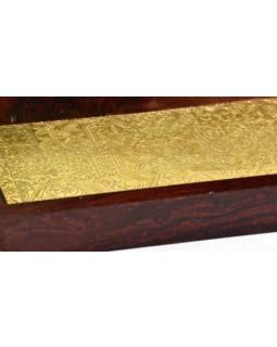 Dřevěný tác - podnos zdobený ručně tepanou mosazí, palisandr