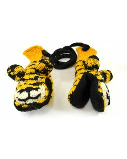 Rukavice, dětské, tygr, žluto-černé