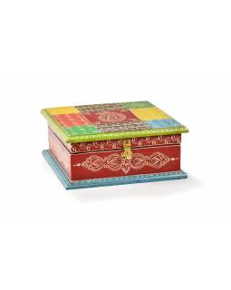 Ručně malovaná dřevěná skříňka, 23x23x10cm
