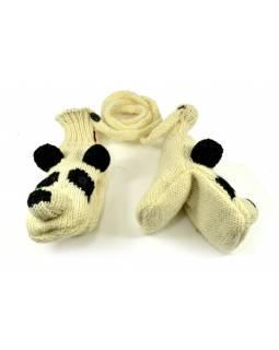 Rukavice, dětské, panda, bílo-černé