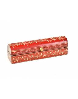 Ručně malovaná dřevěná truhlička, červená, 20x5x5,5cm