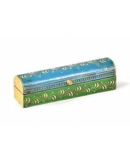 Ručně malovaná dřevěná truhlička, modro zelená, 20x5x5,5cm