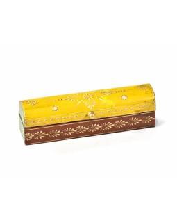 Ručně malovaná dřevěná truhlička, žluto hnědá, 20x5x5,5cm