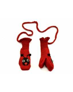 Rukavice, dětské, beruška, červeno-černá