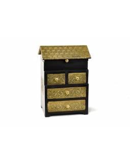 Dřevěná skříňka, mosazné kování, 4 šuplíčky + vrchní víko, 21x15x31cm