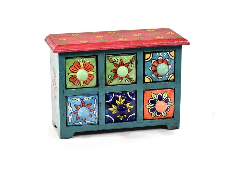 Skříňka se 6 keramickými šuplíky, ručně malovaná, dřevo, 24x9x17cm