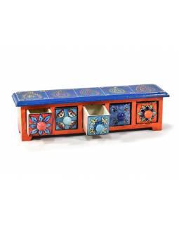 Skříňka s 5 keramickými šuplíky, ručně malovaná, dřevo, 38x10x10cm