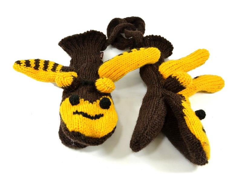 Rukavice, dětské, včelka, žluto-hnědé