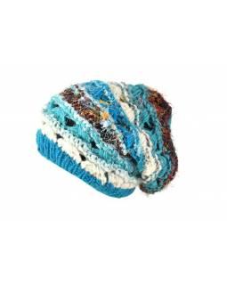 Vlněná čepice, patchwork vlna, bavla, hedvábí, tyrkysová