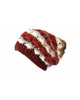 Vlněná čepice, patchwork vlna, bavla, hedvábí, vínová