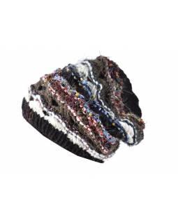 Vlněná čepice, patchwork vlna, bavla, hedvábí, tmavě hnědá (černá)