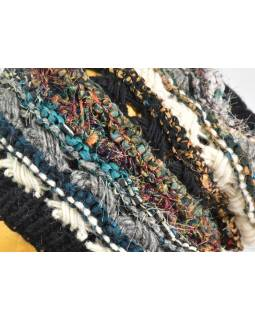 Vlněná čepice, patchwork vlna, bavla, hedvábí, růžová