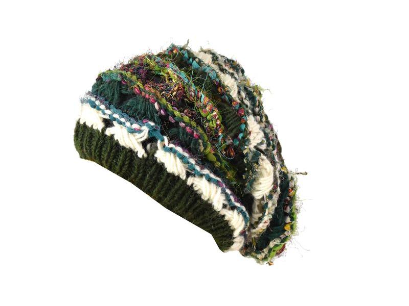 Vlněná čepice, patchwork vlna, bavla, hedvábí, khaki