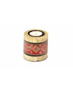 Dřevěný, ručně malovaný svícen, průměr 7cm, výška 7cm