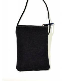"""Malá kabelka """"All elephants"""", fialová, ručně malovaná kůže, bavlna,16,5x11,5"""