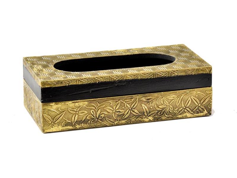 Krabička na kapesníky, drěvěná, zdobená mosazným plechem, 26x13x7cm