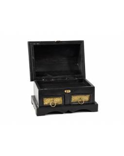 Dřevěná truhlička s mosazným kováním, 2 šuplíčky, 25x12,5x18cm