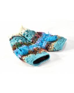 Vlněné rukavice bez prstů, patchwork vlna, bavla, hedvábí, tyrkysové