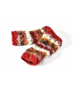 Vlněné rukavice bez prstů, patchwork vlna, bavla, hedvábí, červená
