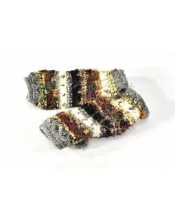 Vlněné rukavice bez prstů, patchwork vlna, bavla, hedvábí, černá