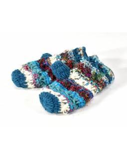 Vlněné rukavice palčáky, patchwork vlna, bavla, hedvábí, tyrkysové