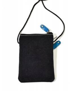 """Malá kabelka """"All elephants"""", tyrkysová, ručně malovaná kůže, bavlna,16,5x11,5"""