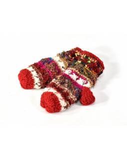 Vlněné rukavice palčáky, patchwork vlna, bavla, hedvábí, červené