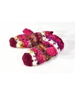 Vlněné rukavice palčáky, patchwork vlna, bavla, hedvábí, růžová