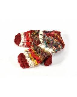 Vlněné rukavice palčáky, patchwork vlna, bavla, hedvábí, vínová