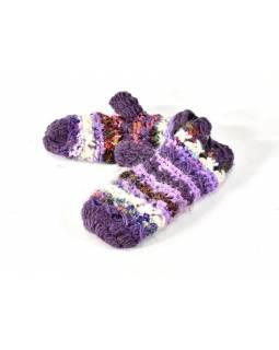 Vlněné rukavice palčáky, patchwork vlna, bavla, hedvábí, fialová