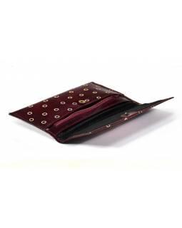 Ručně malovaná kožená peněženka, set 3 ks, Two Cat, vínová, velká 20x12cm