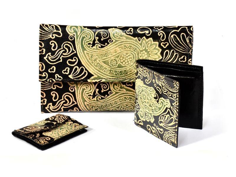 Ručně malovaná kožená peněženka, set 3 ks, Paisley, černá, velká 20x12cm
