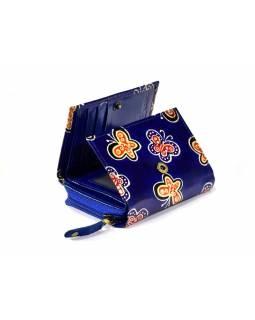 """Kožená peněženka, design ,,butterfly"""", modrá, 12x9cm"""