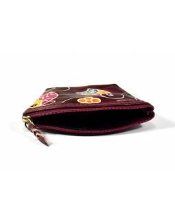 """Kožená peněženka na drobné, """"Happy owls"""", vínová, ručně malovaná, 12x8cm"""