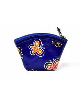 """Kožená peněženka na drobné, """"butterfly"""", modrá, ručně malovaná, 12x8cm"""