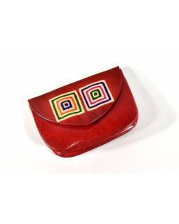 """Peněženka na drobné, črvená, ručně malovaná kůže, """"cube"""""""