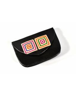 """Peněženka na drobné, černá, ručně malovaná kůže, """"cube"""""""