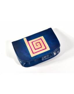 """Peněženka na drobné, modrá, ručně malovaná kůže, """"cube"""""""