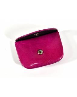 """Peněženka na drobné, růžová, ručně malovaná kůže, """"cube"""""""