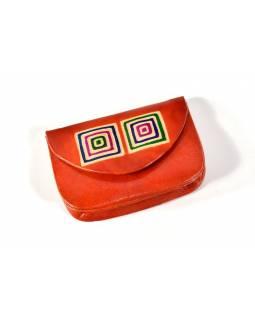 """Peněženka na drobné, oranžová, ručně malovaná kůže, """"cube"""""""