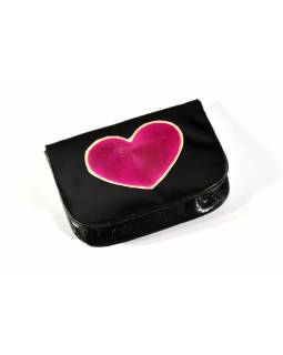 """Peněženka na drobné, černá, ručně malovaná kůže, """"heart"""""""