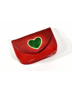 """Peněženka na drobné, červená, ručně malovaná kůže, """"heart"""""""