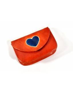 """Peněženka na drobné, oranžová, ručně malovaná kůže, """"heart"""""""