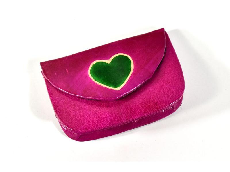 """Peněženka na drobné, růžová, ručně malovaná kůže, """"heart"""""""