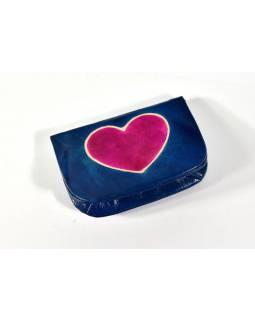 """Peněženka na drobné, modrá, ručně malovaná kůže, """"heart"""""""