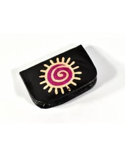 """Peněženka na drobné, černá, ručně malovaná kůže, """"spiral sun"""""""
