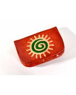 """Peněženka na drobné, oranžová, ručně malovaná kůže, """"spiral sun"""""""