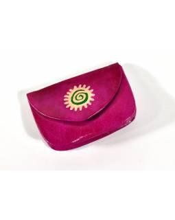 """Peněženka na drobné, růžová, ručně malovaná kůže, """"spiral sun"""""""