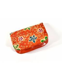 """Peněženka na drobné, oranžová, ručně malovaná kůže, """"ornament"""""""